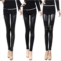 FREE 2014 New fashion Sexy Lady Stitching Stretchy Faux Leather Back Leggings Pant Lrs  hot sale girl gift
