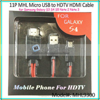 50pcs/lot, 2M/6ft 11P MHL Micro USB HDTV HDMI Adapter Cable for Samsung Galaxy S4 i9500 S3 SIII i9300 Note 2 N7100 Red In Retail