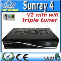 Sunray4 v2 triple tuner SR4 V2 Wifi 3 in 1 DVB receiver Sunray4 800 se Sim2.20 sr4 v2 Enigma2 System by DHL Free Shipping