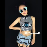2014 paillette short design navel vest personalized dj female costumes ds costume