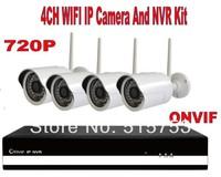 Free shipping 4CH NVR Kit 4pcs Plug&Play 720P H.264 Bullet Wireless Wifi IP Camera