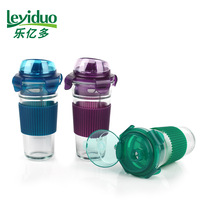 Sealed glass cup transparent cup belt with rope cup juice cup carry