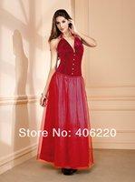 new 2014 1pc free shipping Velvet skirt with shoulder-straps Christmas dress,abdomen in Render corset 9436
