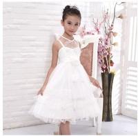 New Arrival Kids Girl Dress Childern's Fashion 2014 Girls White Wedding Princess Dress Flower Girl Show Performances Party Dress