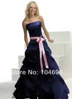 freeship,Hot sexy,New Debutante dress,pink sash,bridesmaid dresses,ball dress,navy