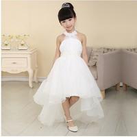 New 2014 Summer Dress Flowers Enclose Neck Sleeveless Kids Girl Performance Dress Flower Girl Princess White Wedding Girl Dress