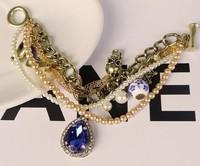 Bracelet vintage bracelet female large teardrop rhinestone luxury vintage multi-layer gold bracelet  fashion jewelry