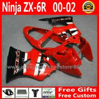 Fairings for Kawasaki ninja ZX6R 2000 2001 2002 derby red ZX-6R kits ZX636 00 01 02 fairing kit # 130