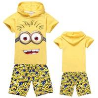 Hot sale New 2015 Summer T-shirt shorts Despicable me Print Cartoon Clothing Set Girls Boys Clothes,Kid Unisex beach Suits 5459