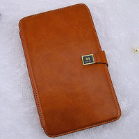 Magnetic Buckle Card Genuine Leather Case for Samsung Galaxy Tab3 7.0 Folding Stand Cover Case for Samsung P3200 P3210 T210 T211