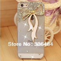 Wholesale 3D Ribbon Rhinestone Case for iPhone 5 5S iPhone 4 4S case,New Arrival mobile Phone Case Protect Back Skin