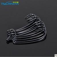 Free shipping, Crank hook bkk 50pcs/blot, black diamond material soft hook black lure hook