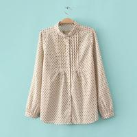 R41 spring female fashion small pleated turn-down collar long-sleeve shirt