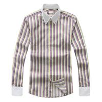 R64 male straight long-sleeve white collar multicolour stripe shirt