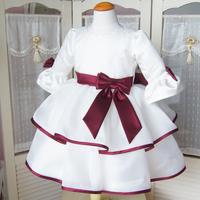 2014 children's clothing one-piece dress princess child formal dress flower girl skirt three quarter sleeve Wine red puff skirt
