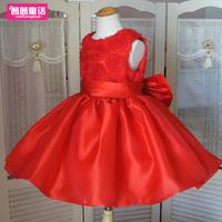 Controversial red dress female child princess dress flower girl dress puff skirt dress child