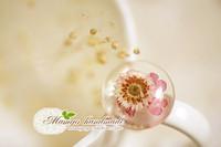 Mangohandmade . flower gem mdash . hemisphere small pink flower gem