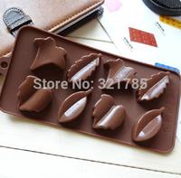 8 Holes Cute Leaf Shape Silicone Mold DIY Chocolate Jelly Pudding Soap Mould Cake Tool