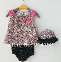 Retail 1set Baby girls 3 Piece Suits leopard short Romper + shorts + Hat Girls Summer sets Drop shipping