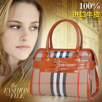 2014 Special Offer Promotion Bag Medium(30-50cm) Zipper Bolsas Women Handbag Genuine Leather Women's Handbag Fashion Check Bags