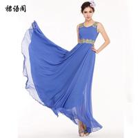 2014 spring and summer spaghetti strap chiffon one-piece dress bohemia dress full formal dress qcl817