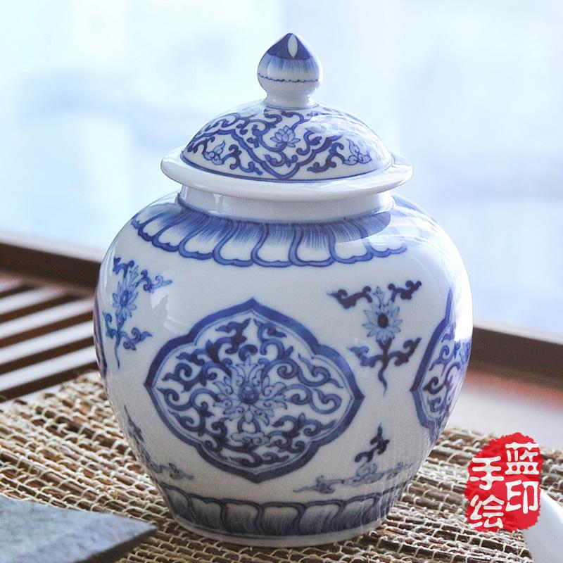 Chá azul e branco grandes antigo cerâmica lata 900 ml(China (Mainland))