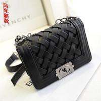 2014 fashion bag knitted chain small sachet messenger bag one shoulder mini bags plaid women's small handbag