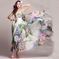 2014 spring and summer spaghetti strap V-neck flower chiffon one-piece dress bohemia dress full qcl773-2