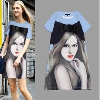 On Sale New Spring Summer 2014 Bowknot is beauty figure dress star high quality bow beauty print one-piece dresses Clothing