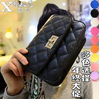 2014 small bags plaid chain bag fashion black mini women's handbag messenger bag small sachet