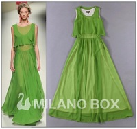 Free shipping 2014 spring and summer fashion elegant chiffon elegant  faux two piece Fairy Girl long/maxi dress Green