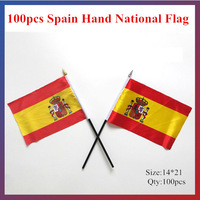 Hot-sale!14*21CM 100pcs/lot Spain National Hand Flag Office/Activity/parade/Festival/worldcup/Home Decoration 2014 Newest