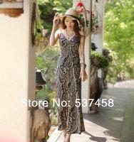 Beach dress viscose slim spaghetti strap V-neck cashew flower one-piece dress  female