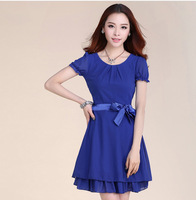 Free shipping' New Spring 2014 Women Chiffon Puff Sleeve Ruffes Casual  Summer Dresses Party Dresses With 5 Size 4Color