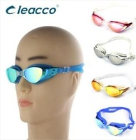 Free Shipping 2014 fashion plating goggles uv anti-fog waterproof wide angle swimming glasses male Women