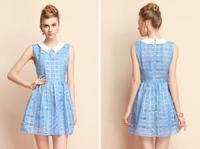 2014 Summer fashion women's dresses party plaid slim sleeveless female vest dress casual women clothes hot new sweet dress