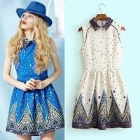 Wholesale woman dress 2014 spring fall european fashion style brand print chiffon dress with elastic waist  Free Shipping new