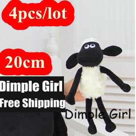 4pcs 20cm Cartoon Figure TV & Movie Character Shaun The Sheep Plush Toy Soft Kawaii Small Stuffed Animal For Kids Party Favor(China (Mainland))