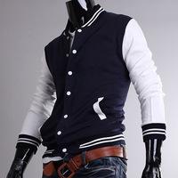 Free shipping 2014 Spring autumn new hoodiesKorean version of the new color baseball shirt collar cuff M-XXL