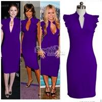 2014 Summer sexy Victoria Beckham Blue Purple midi bodycon bandage dress celebrity dresses fitted Pencil Dress Red carpet dress