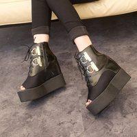 Spring 2014 open toe shoe women's shoes single shoes platform fashion lacing vintage platform single shoes women's shoes
