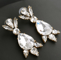 2014 new design fashion J c brand jewelry earrings luxury clear crystal drop earrings for women