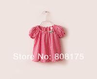 2014 summer female childe T-shirt short-sleeve plaid top cute baby cute shirt plaid shirt short-sleebe T-shirt
