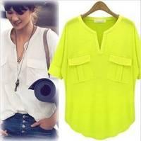 Fashion Women's Summer Short-sleeve V-neck 100% Cotton Modal T-shirt Basic Tee t shirts Tops Shirt 1pcs/lot new blouse