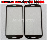 Brushed Blue Galaxy S3 Glass Lens Front Touch Screen Cover Repair Parts for Samsung S III i9300