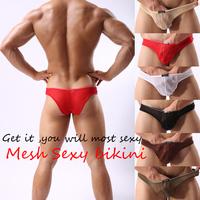 Mesh Men's Sexy Mini lucency Underwear Comfy Enhance Bulge Pouch Bikini briefs
