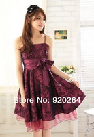 Free Shipping 2014 New Fashion Sexy Elegant Sling Strapless Bow-knot Slim Women Party/Graduation  Dress/dresses Z-LS0005