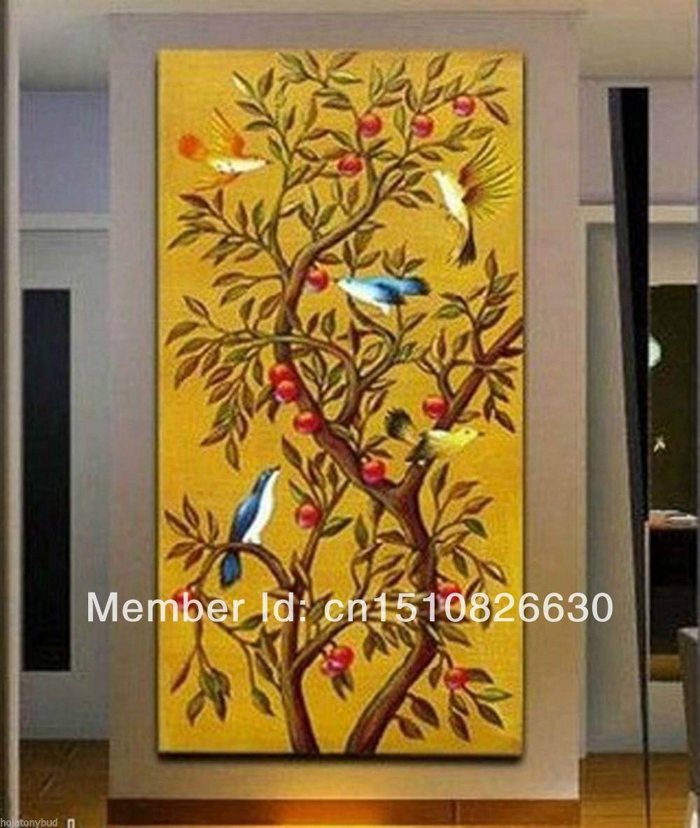 amarelo auspicioso árvore de aves queda ramos pintura arte abstrata 03:00 sem moldura(China (Mainland))