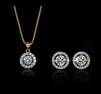 New Crystal Heart&Arrows Sets necklace& Earrings Heart setsHeart&Arrows Jewelry For Wedding