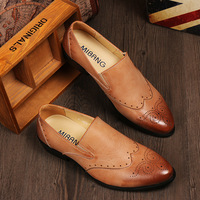 Brockden men's fashion genuine leather shoes male casual leather fashion vintage pointed toe shoes foot wrapping shoes Oxfords